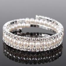 Hochzeit Armband Braut Strass Perlen Armschmuck silber-farbig dehnbar P1S2