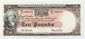 NICE-HIGH-GRADE-1960-R63-AUSTRALIAN-10-POUNDS-NOTE-WA57