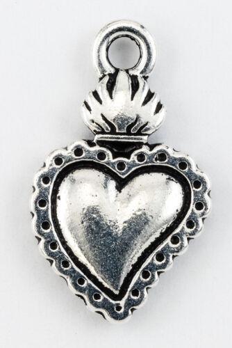 #CK393 21.5mm Antique Silver TierraCast Pewter Milagro Heart Charm 20 Pcs