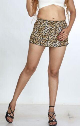 Micro Mini High Waist Short Skirt Ladies Animal Print A-Line Cross Dresser