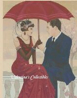 Cross Stitch Art Deco Couple W/umbrella - Complete Kit 1-159 (large Print)