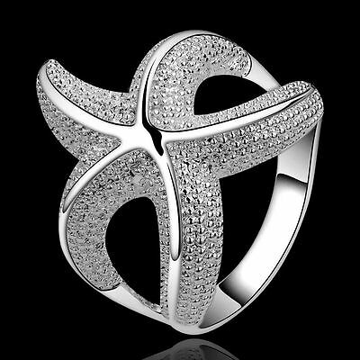 Fashion nice noble new Silver Cute party Beautiful Starfish women Ring jewelry