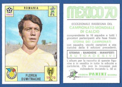 ROMANIA DUMITRACHE FIGURINA CALCIATORI PANINI MEXICO 70 NUOVA//NEW