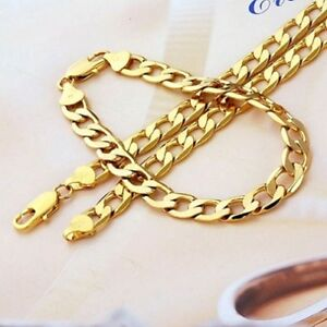 Real-9k-Gold-filled-Men-039-s-Bracelet-necklace-21-5-034-Chain-Set-Christmas-Gift