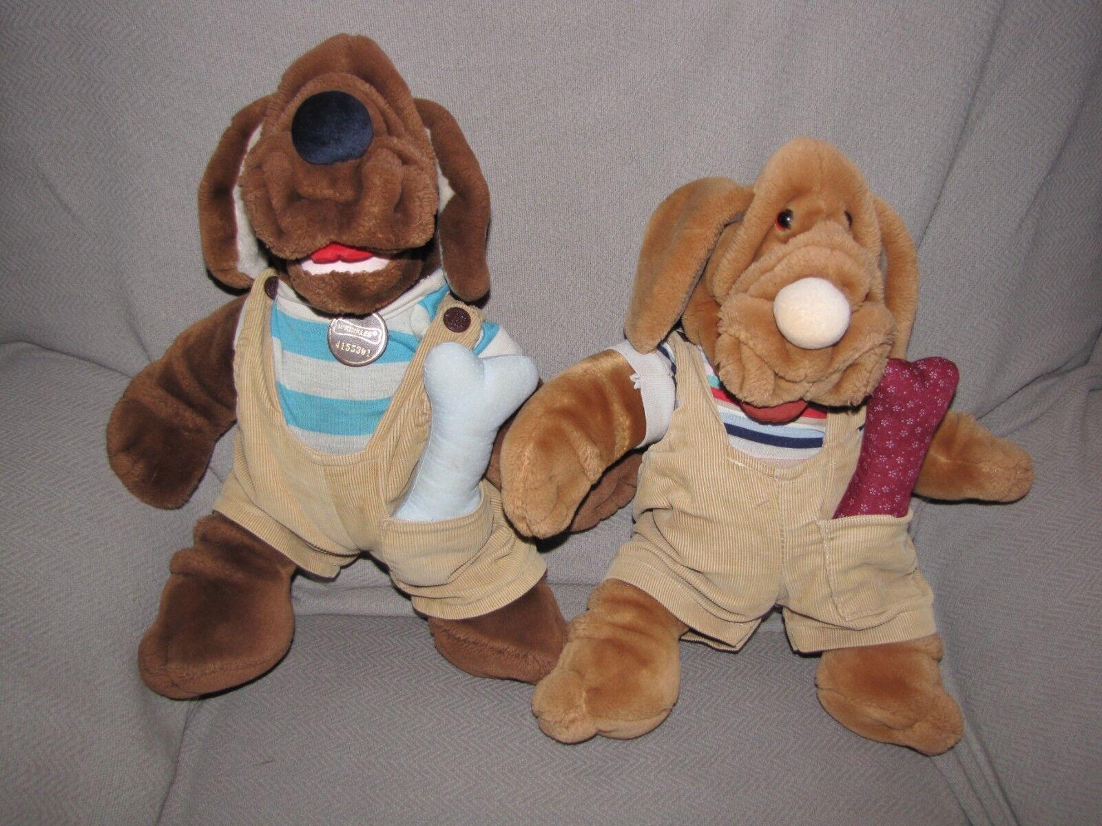 GANZ WRINKLES STUFFED PLUSH BOY DOG PUPPET LOT OF 2 CORDUROY OVERALLS BONES 1981