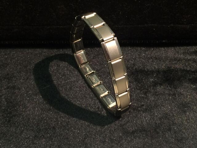 D Linq 9mm Stainless Steel 18 Link Italian Charm Starter Bracelet Matte Silver