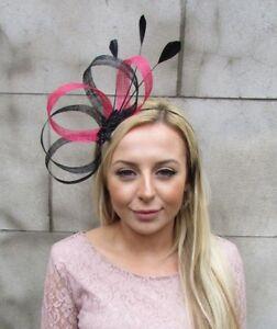 96ef902286c Image is loading Black-Hot-Pink-Sinamay-Feather-Hair-Fascinator-Headband-
