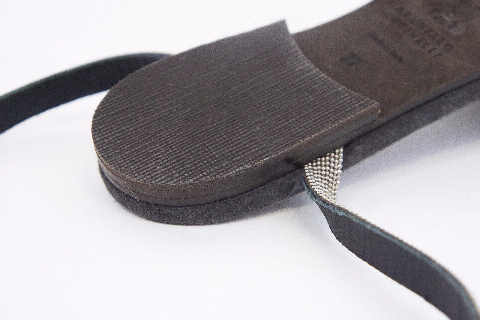 1195 Brunello Cucinelli Chrome Chrome Chrome Leather Monili Beaded Ankle Strap Flats A176 786192