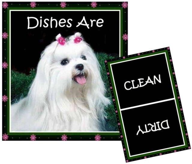 Maltese Clean Dirty Dishwasher Magnet Dog