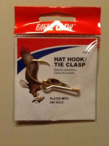 Tie Clasp New Eagle Claw 24K Gold plated Hat Hook