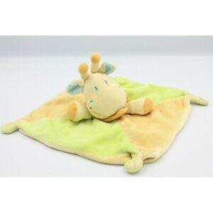 Doudou-plat-girafe-jaune-vert-foulard-bleu-KIABI-NICOTOY-Vache-Girafe-Plat