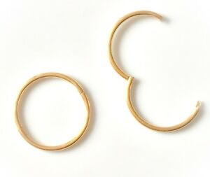 2ca9a9905 9ct Gold on Sterling Silver Small Hinged Hoop Sleeper Earrings PAIR ...