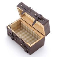 1:12 Doll house Miniature Vintage Leather Wood Suitcase Mini Luggage Box U5U3