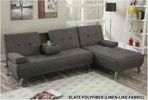 Lounge Retro Style Slate Polyfiber Adjustable Sofa & Chaise Living Room Couch