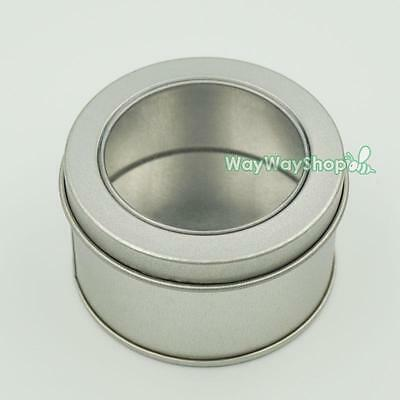 Tinplate Iron Tin Storage Spice Case Container Small Box Clear View Round Tins