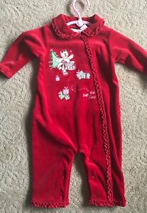 New-Infant-Baby-Girl-Red-Velour-Sugar-Plum-Fairy-Romper-Outfit-3-6-Months