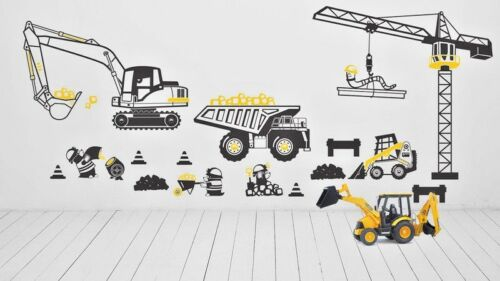 Boys Bedroom Wall Stickers Excavator Crane Construction Site Trolley Playroom