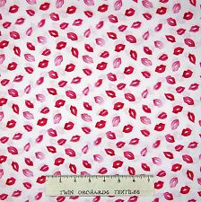 Valentine's Day Fabric - Doodads Kisses Lips White - Paintbrush Studio YARD