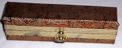 Vintage Accessory Hard Eye Glass Glasses Case Click Lock Top Brown & Gold NICE!