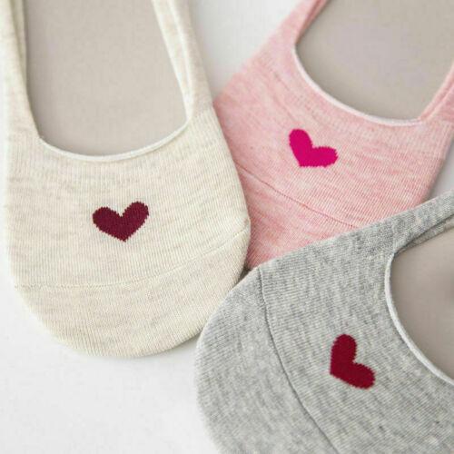 5 Pairs Women Love Heart Invisible Trainer Non-slip Socks No Show Low Cut Socks