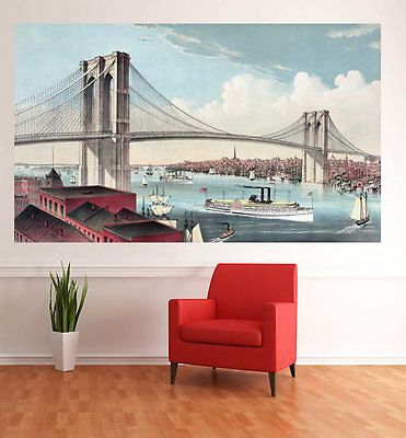Photo Wall Mural-BROOKLYN BRIDGE- -NON WOVEN-Panorama-New York Skaline XXL 1338J
