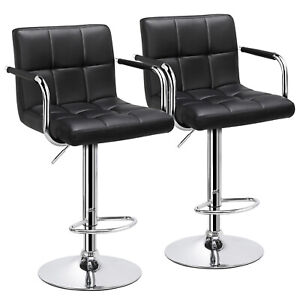 Adjustable-Modern-Swivel-Bar-Stools-Dining-Chair-Counter-Height-Leather-Set-of-2