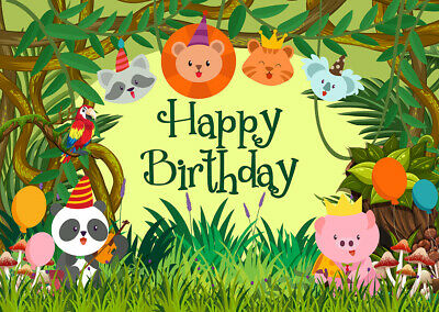 Happy Birthday Backdrop 5x3 Vinyl Childish Cartoon Zoo Animals Frame Photography Background Grinning Monkey Lion Crocodile Kids Baby Birthday Party Shoot Banner Cake Smash Wallpaper