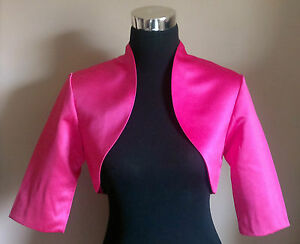 Pink-Satin-Bolero-Shrug-Jacket-Stole-Shawl-Wrap-Tippet-3-4-Sleeve-Lined-New