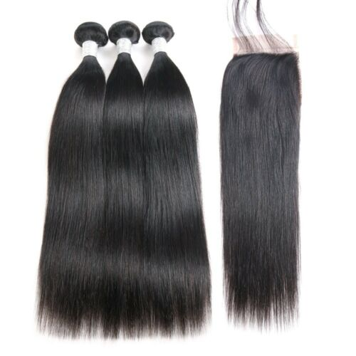 "Malaysian Virgin Hair Straight 3 Bundles 18""20""22"" With 18"" 4 by 4 Lace Closure"
