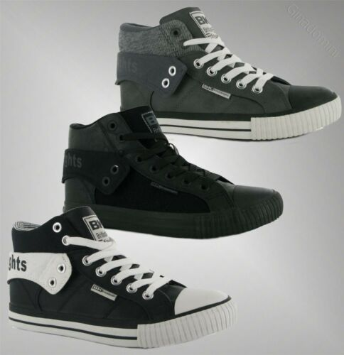 Mens Branded British Knights Roco Fold PU Hi Top Skate Shoes Trainers Size 7-13