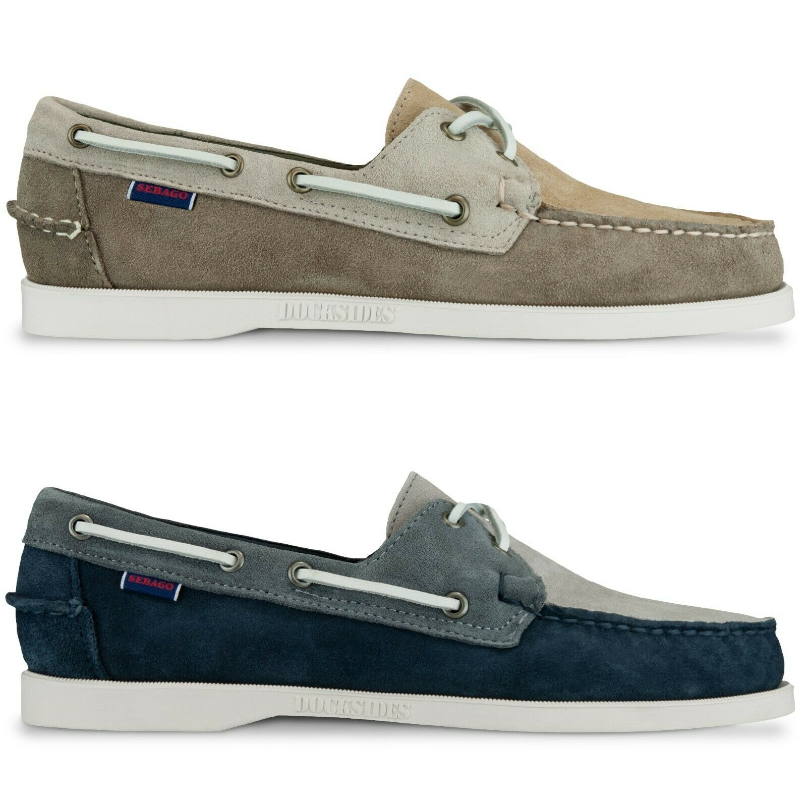 Sebago shoes - Sebago Docksides Portland Jib Boat shoes  - Taupe, Navy Suede