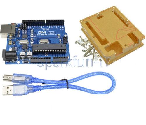 1PCS UNO R3 ATmega328P ATMEGA16U2 For Compatible Cable Acrylic Case