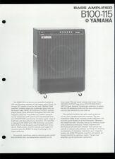 Rare Original Factory Yamaha B100-115 Bass Guitar Amplifier Dealer Sheet Page