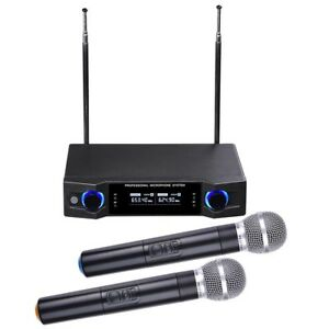 Audio-2-Channel-UHF-Handheld-Wireless-Microphone-System-w-2-Mic-LCD-Display