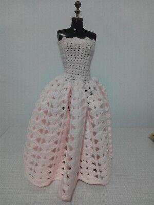 Vestido Largo Elegante Crochet Para Barbie O Similar Ropa Muñeca Rosa Ebay