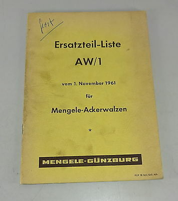 Motors Industrial Parts Catalog Aw 1 Mengele Ackerwalzen Stand 11/1961 Finely Processed