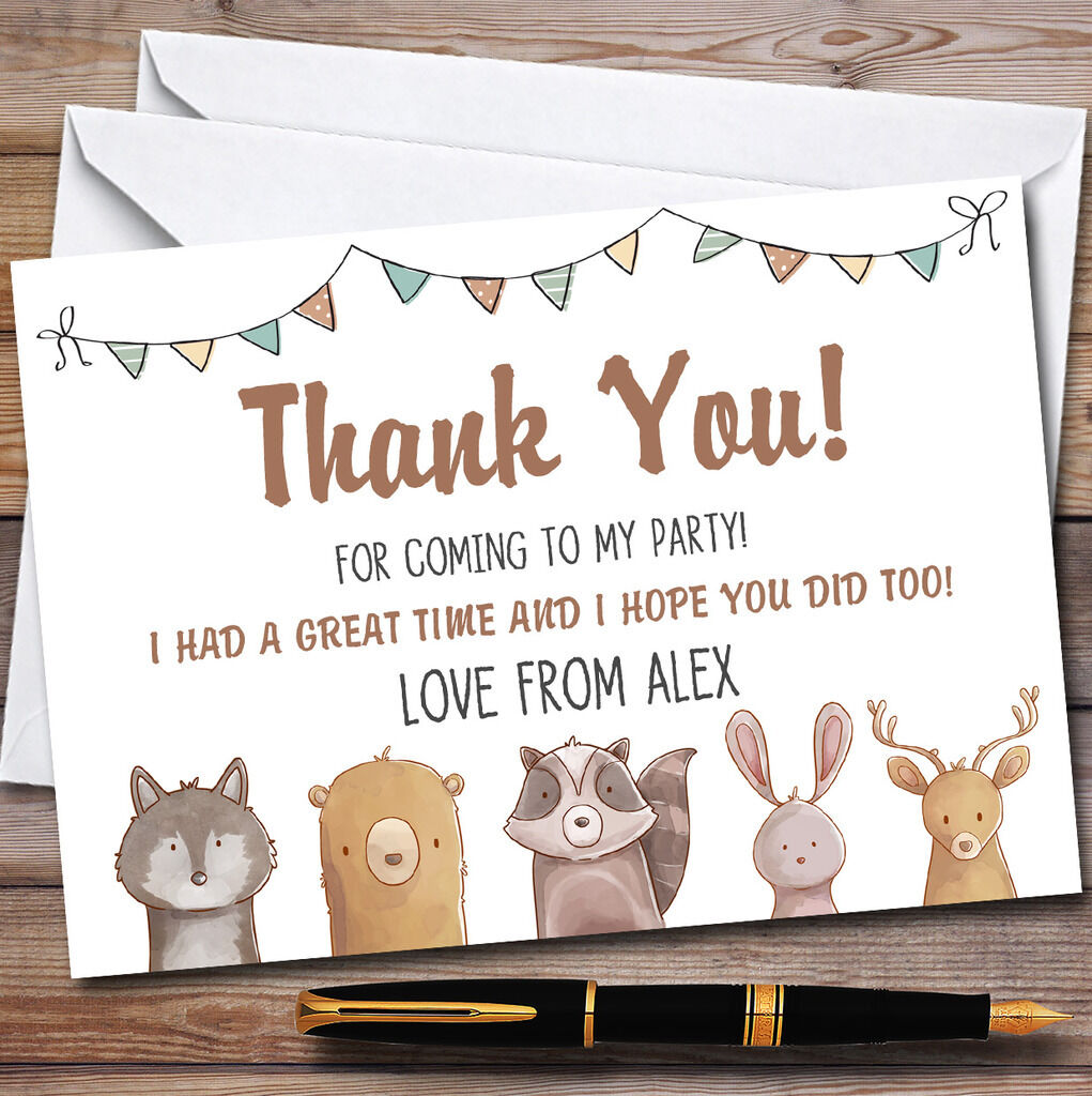 Forest Woodland Animals Party Thank You Cards