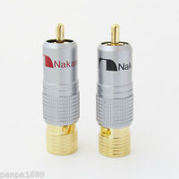 2x High Quality Gold Plated Nakamichi RCA Plug Locking Free solder A/V connector