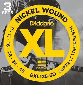 3-Pack-D-039-Addario-EXL125-le-corde-per-chitarra-elettrica-9-46-LUCE-EXL125-3D-Set