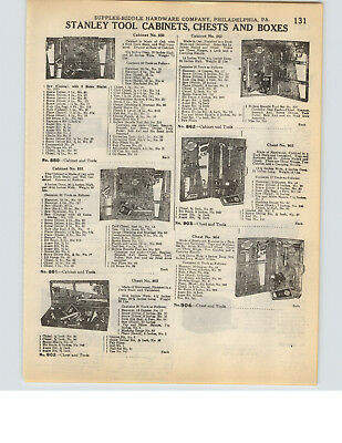 1927 PAPER AD Stanley Tool Cabinets Chests Box Boxes Green ...