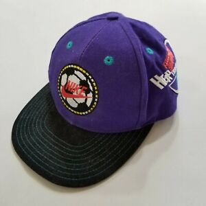 80f72847d Details about Vintage 90s Nike Soccer Snapback Youth Hat RARE Purple Black  Spell Out Swoosh