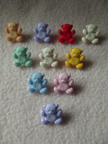 environ 15 mm Craft//Bébés 10 X Multicolore nounours boutons ~ 26 L