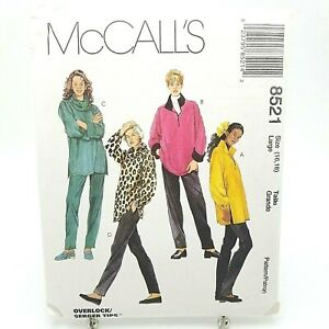 Misses Loose Fit Tunic Top Pants Loungewear Pattern 8521 McCall Size 16 18 Large