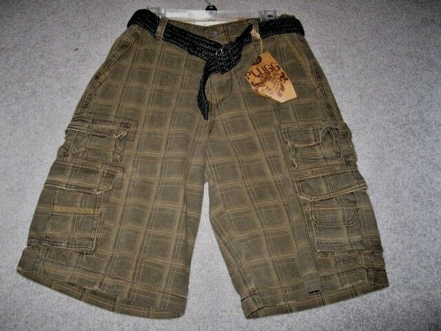 9576eeca6c Men's Plugg Vintage Brown Plaid With Black Belt Cotton Cargo Shorts Size 30    eBay