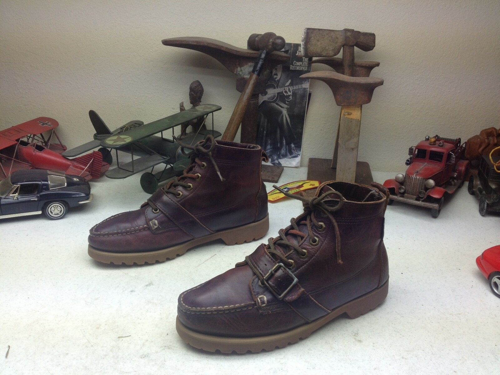 EASTLAND EASTLAND EASTLAND BUCKLE STRAP USA braun LEATHER LACE UP ENGINEER TRAIL BOSS Stiefel 10D 21aa8a