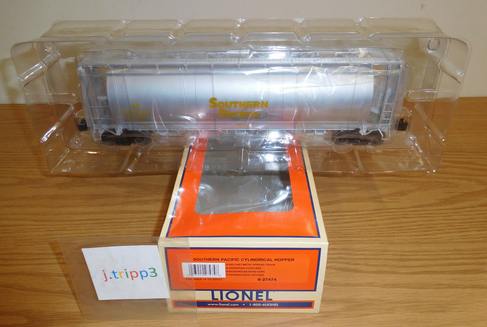 LIONEL 6-27474 SOUTHERN SOUTHERN SOUTHERN PACIFIC SP CYLINDRICAL HOPPER TRAIN O SCALE CAR FREIGHT 8a65a3