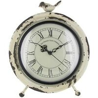 Antique White Metal Table Clock With Bird On Top. Old World Charm To Desk, Table