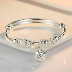 Fashion-Womens-Girls-925-Silver-Charm-Bangle-Cuff-Bracelet-Ball-Jewelry-Gift-Hot