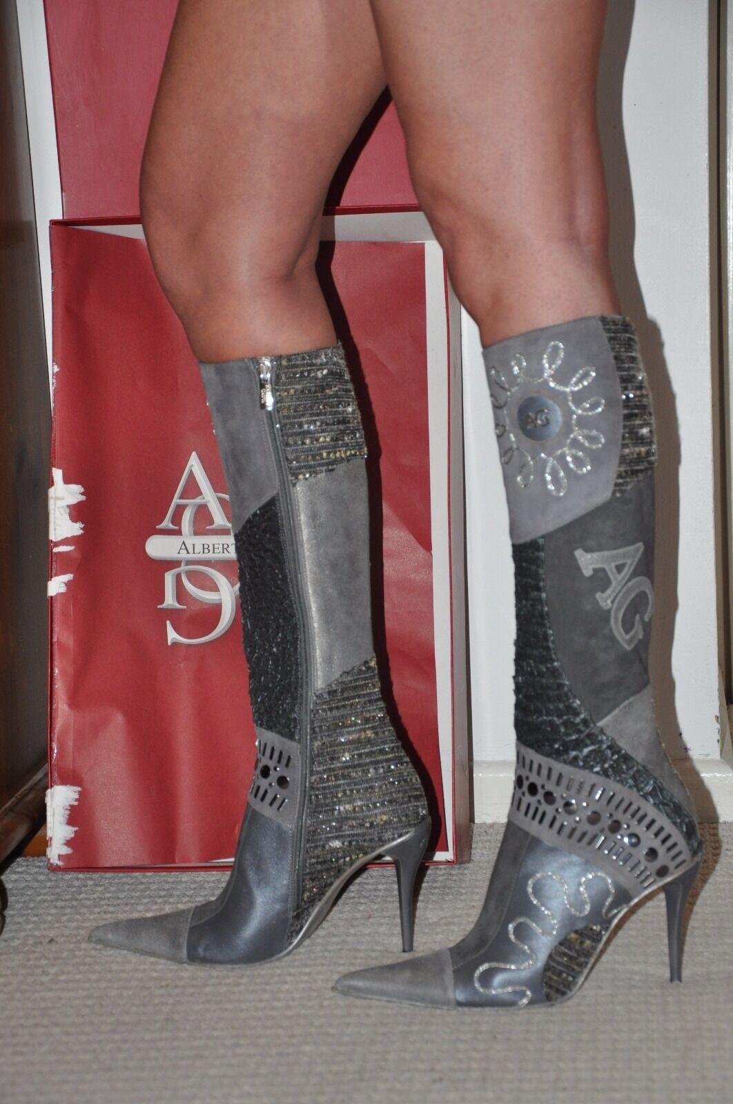 PARTY ALBERTO GATTI REAL LEATHER LONG LONG LONG Stiefel,grau,FarbeFUL COMBINATION,UK4  EU 37 61ceb4