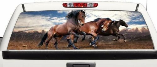 Three Horses rear window graphics Decal Sticker 50//50 view 66/'/'x22/'/' Truck SUV